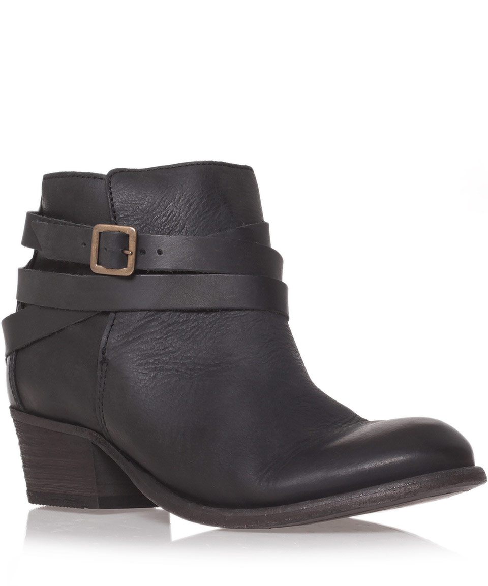H by hudson Black Horrigan Low Heel Ankle Boots in Black | Lyst
