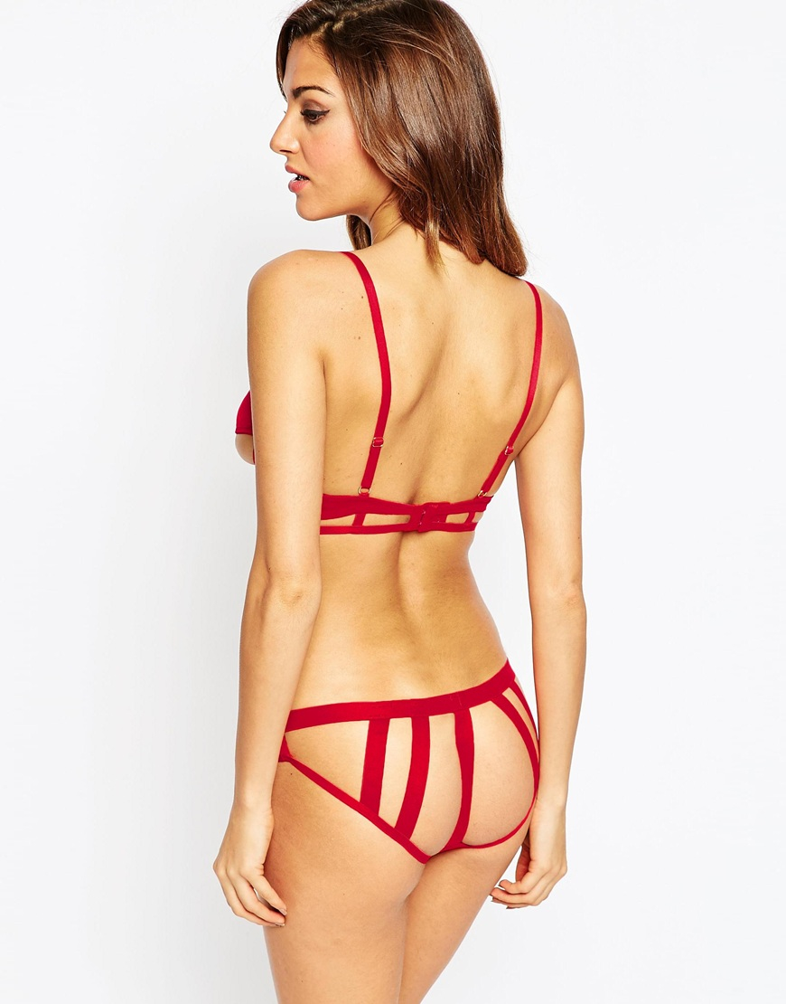 Lyst Asos Zea Barely There Triangle Bra In Red