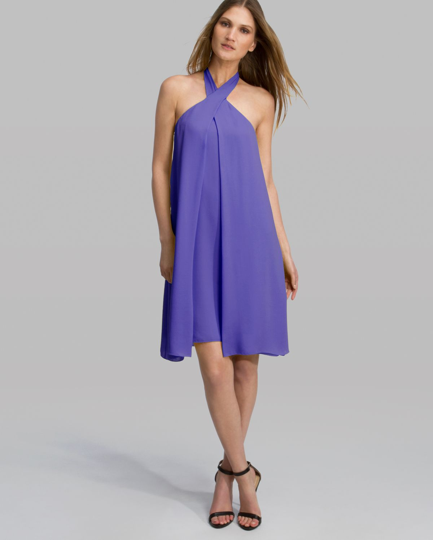 Asymmetric Drape Dress: Halston Heritage Dress Asymmetric Drape Halter In Purple