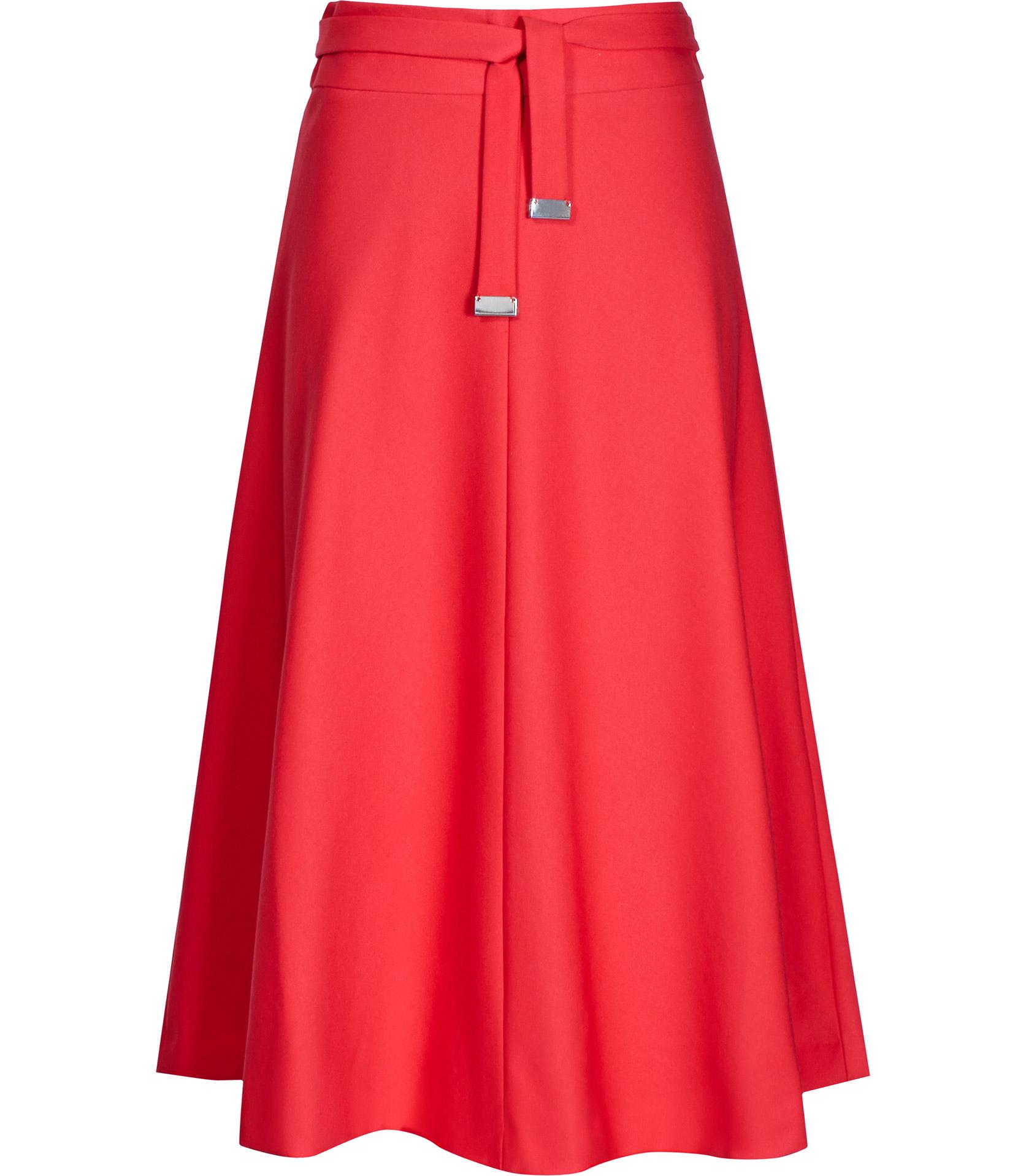 reiss emilia high waisted flared midi skirt in lyst
