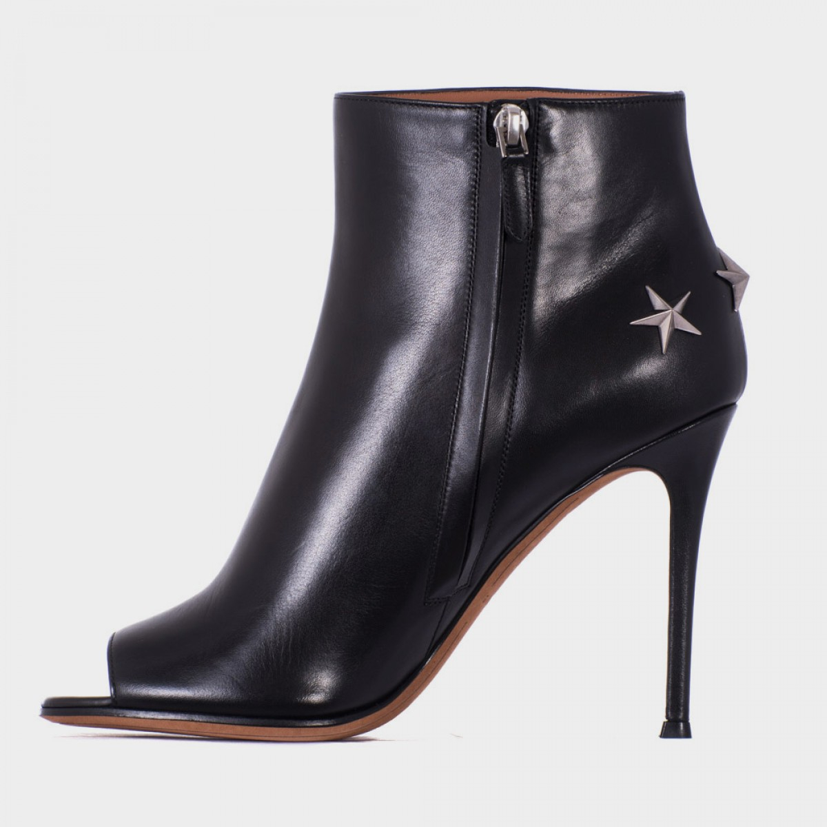 givenchy open toe boots in black