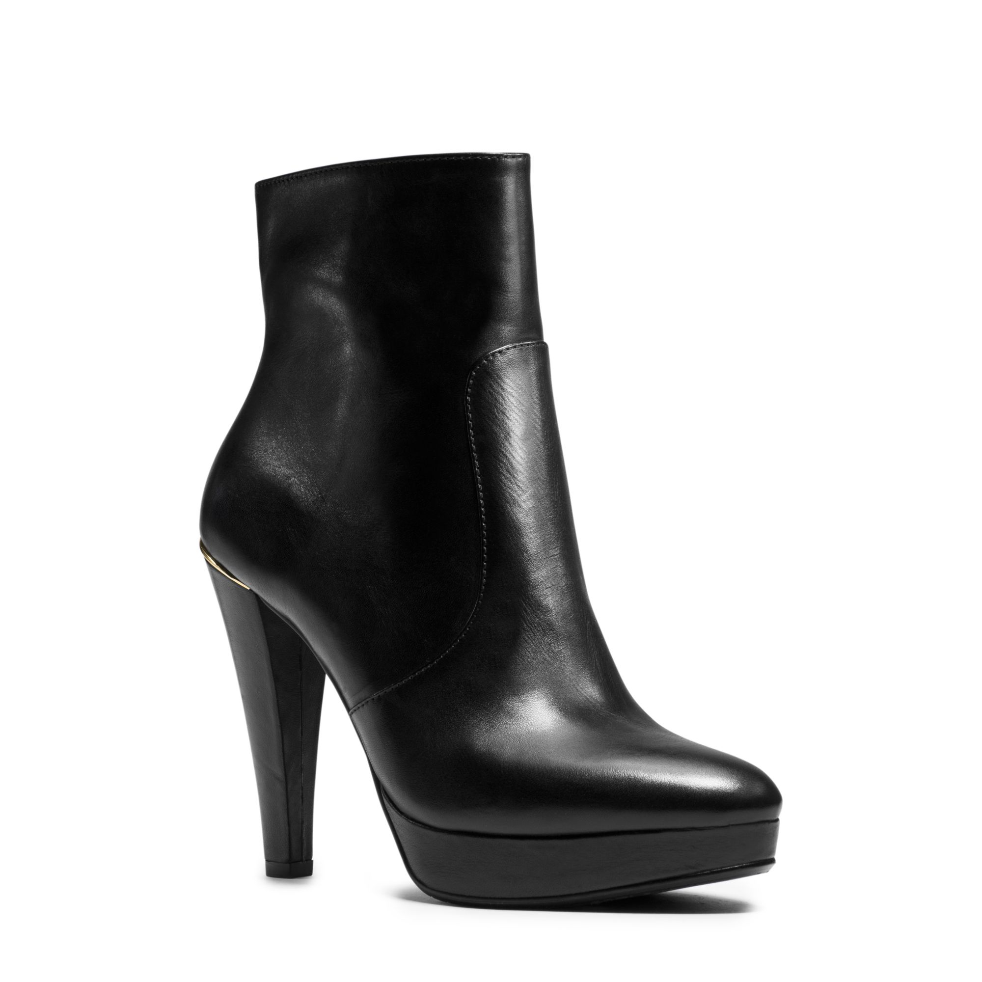 0504c28124e Lyst - Michael Kors Georgia Leather Platform Ankle Boot in Black