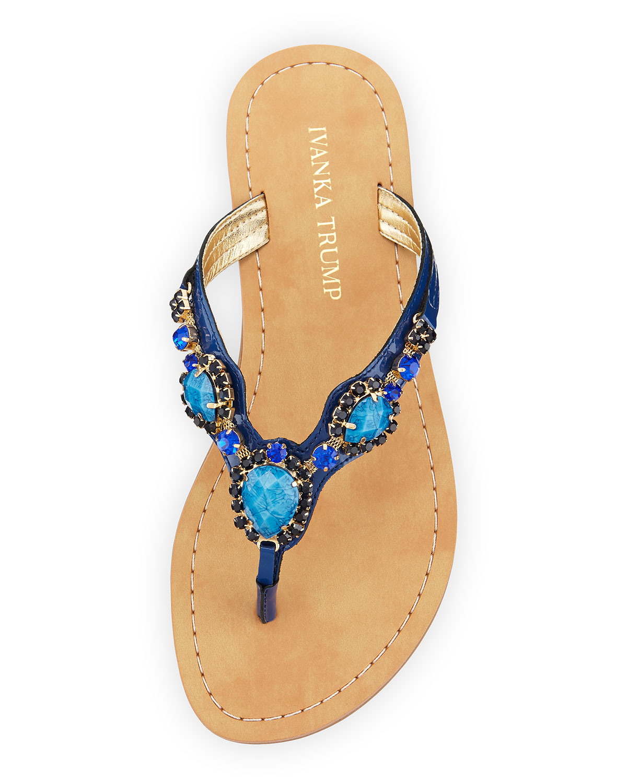 b9caa04e97899b Lyst - Ivanka Trump Palla Jeweled Leather Thong Sandal in Blue