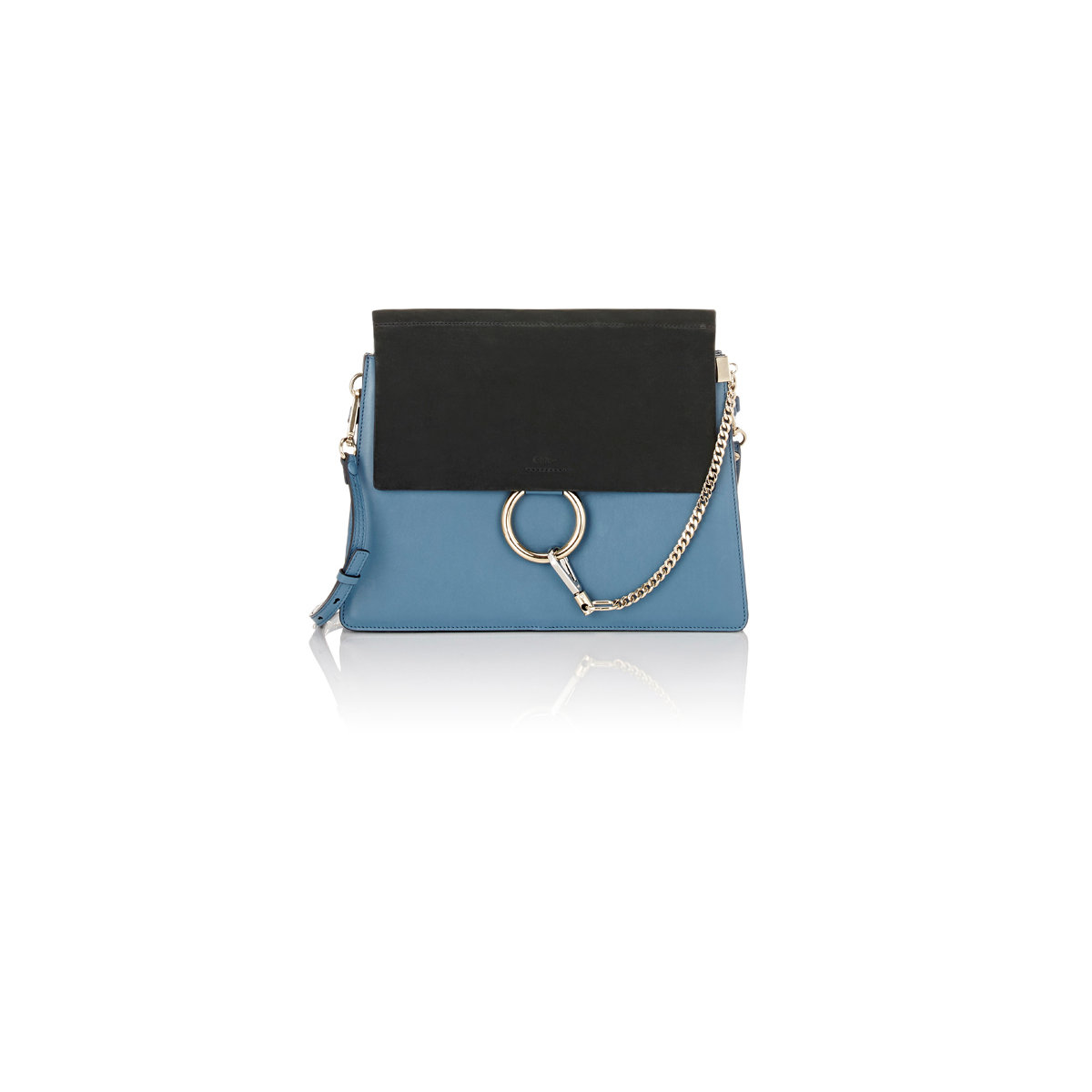 Chlo�� Faye Medium Leather And Suede Shoulder Bag in Blue | Lyst