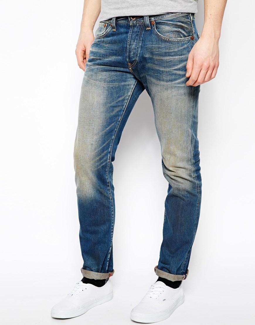 lyst pepe jeans jeans guzzi slim fit mid wash in blue. Black Bedroom Furniture Sets. Home Design Ideas