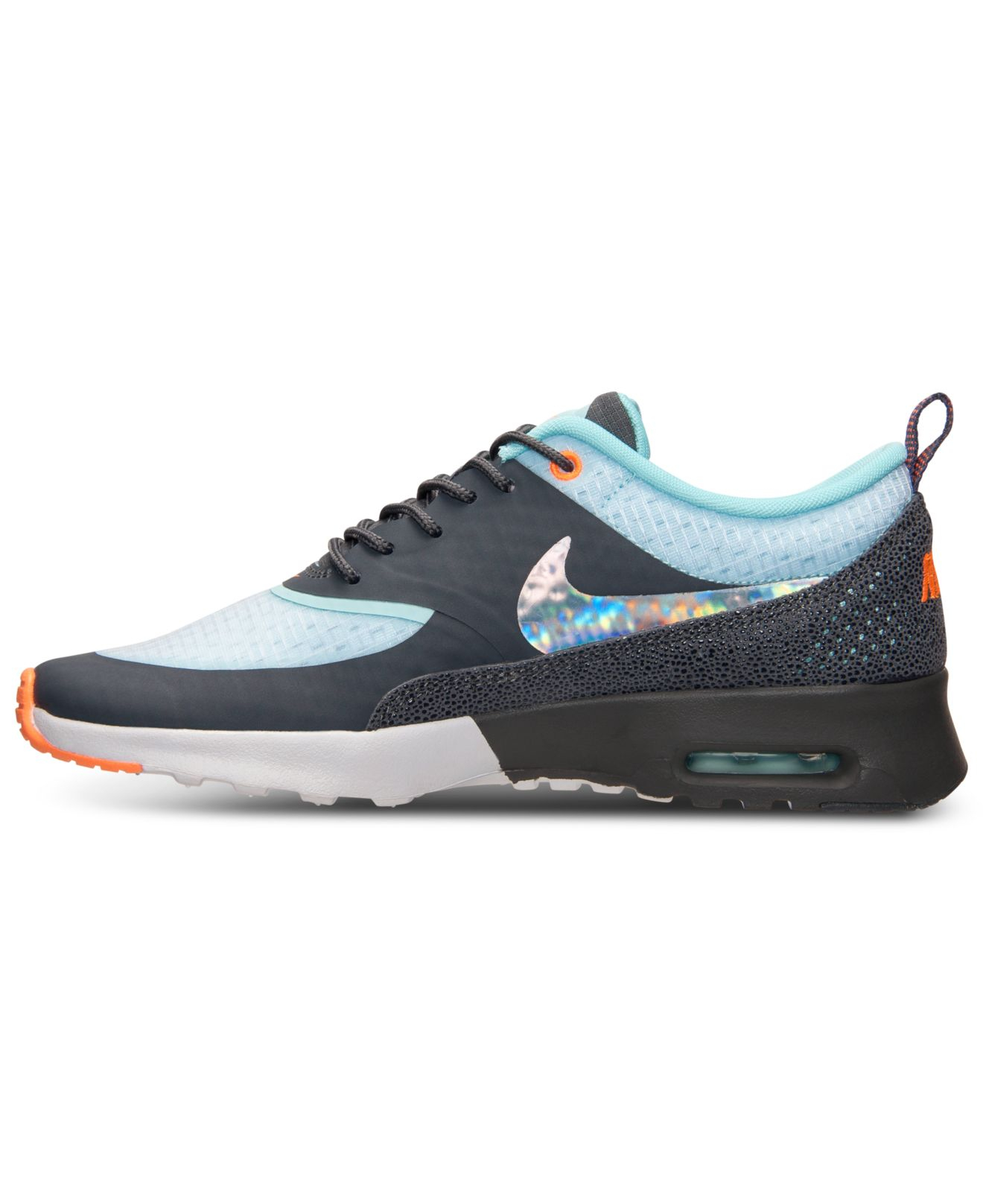3a9e3f357cf6 ... black white metallic silver d738b 2552b  switzerland lyst nike womens air  max thea print running sneakers from finish line in blue 18091