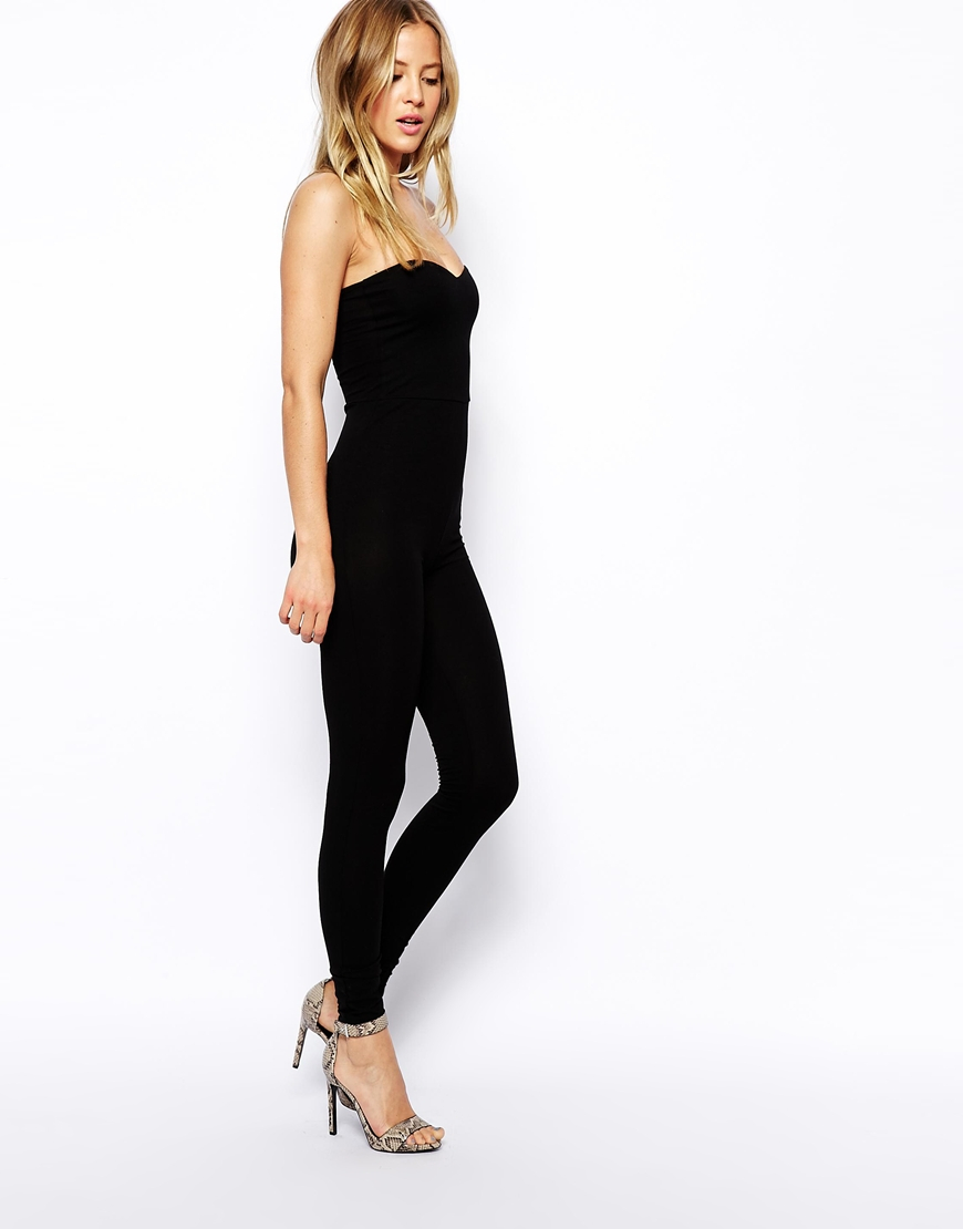 Asos Bandeau Jumpsuit With Sweetheart Neck in Black | Lyst