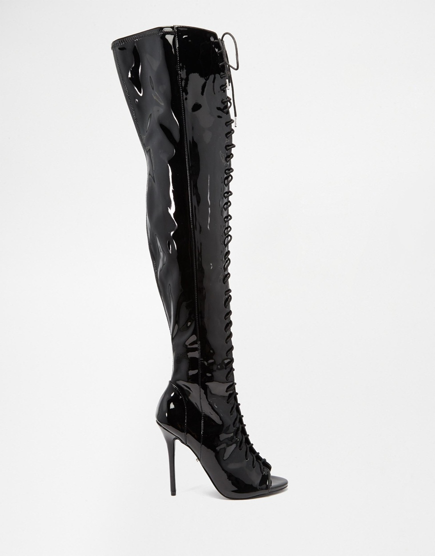 carvela kurt geiger patent lace up thigh high peep