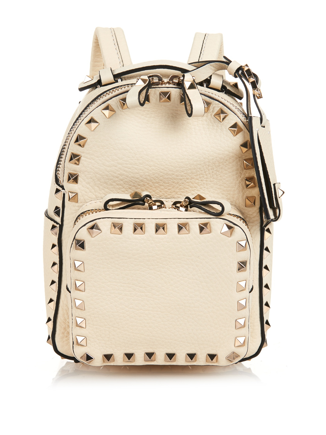 Rockstud Backpack in Black Calfskin Silk Valentino KsoY0NRn