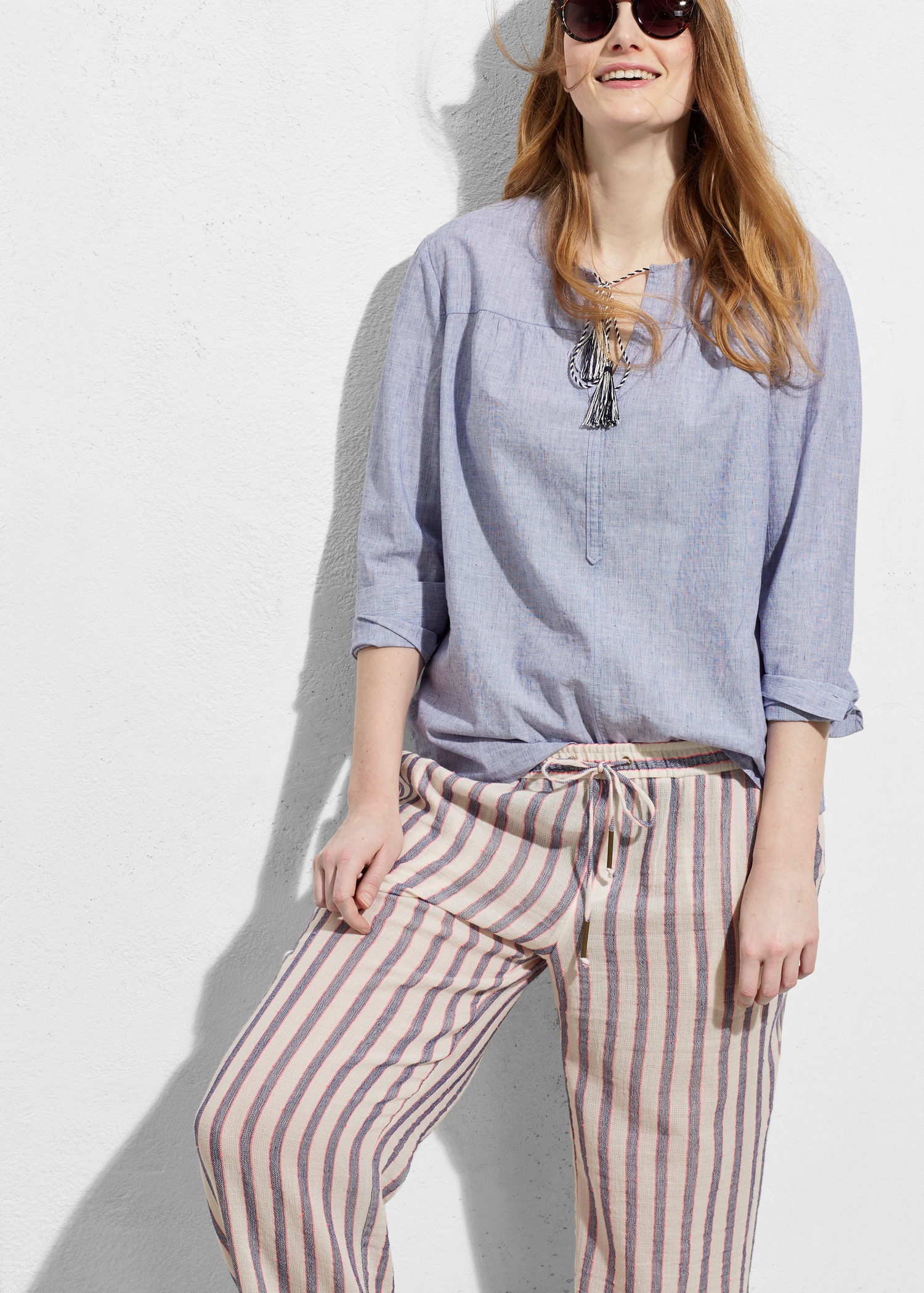 d50a19371d5 Lyst - Violeta by Mango Striped Cotton Trousers in White