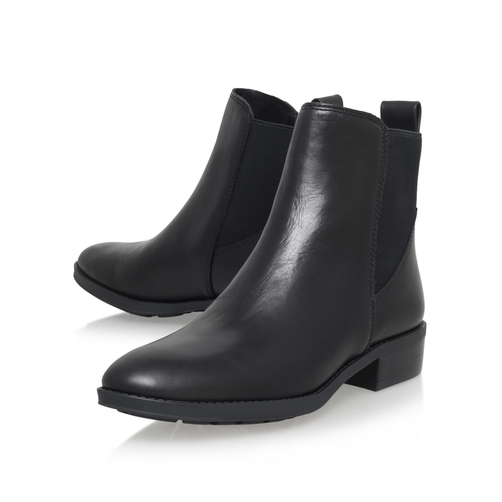 vince camuto ponce low heel ankle boots in black lyst
