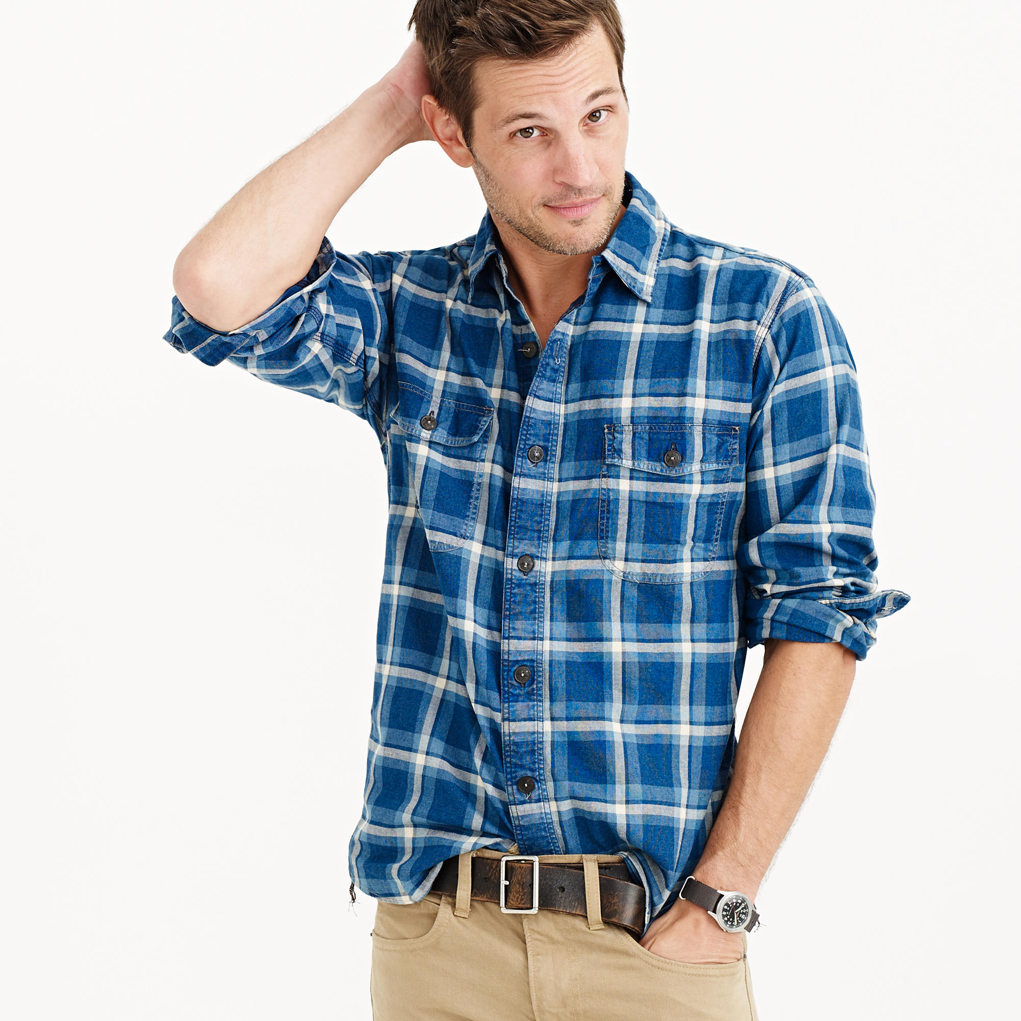 Shuttle notes indigo flannel shirt in blue for men lyst for How to wash flannel shirts