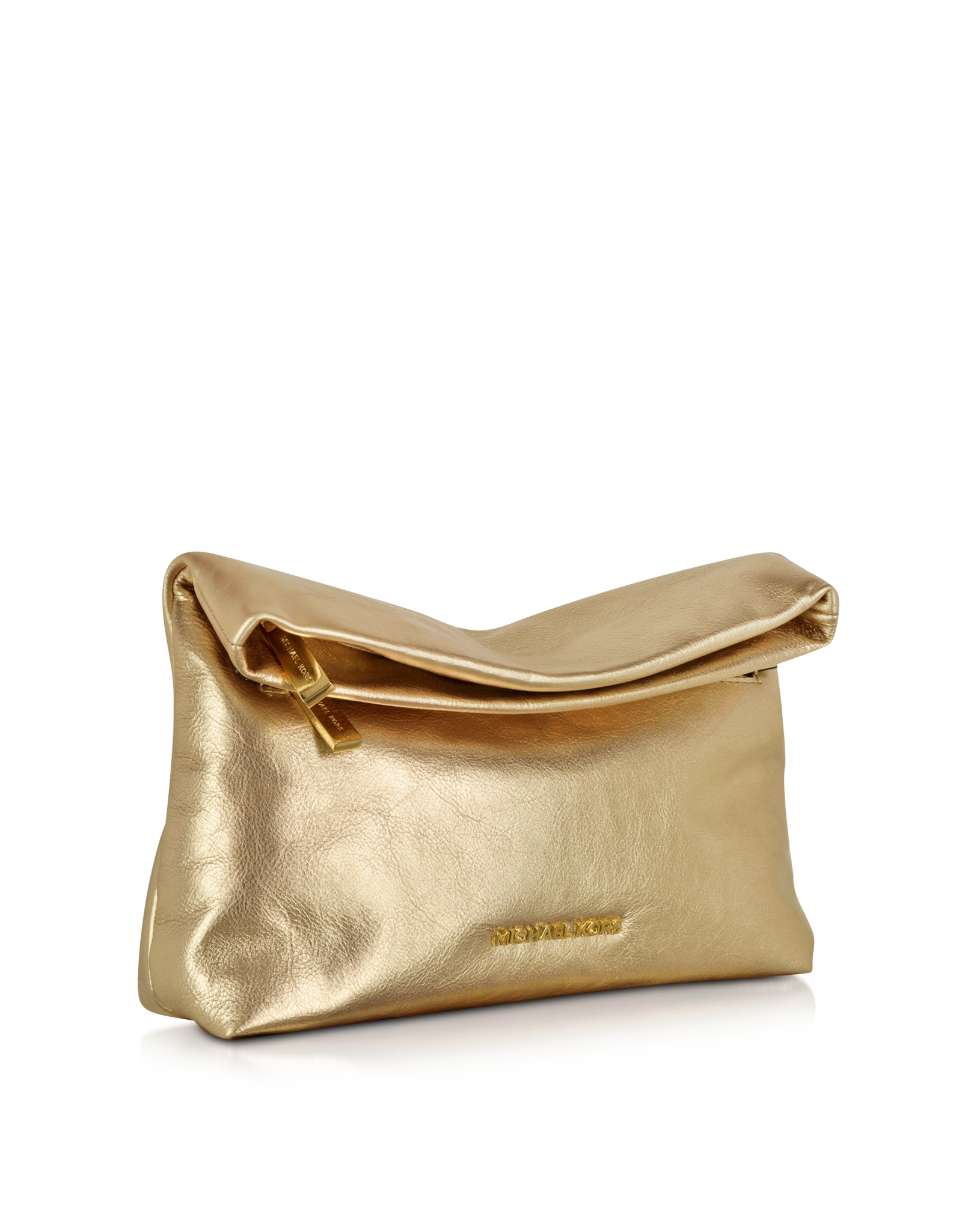 michael kors daria pale gold leather fold over clutch in metallic lyst. Black Bedroom Furniture Sets. Home Design Ideas