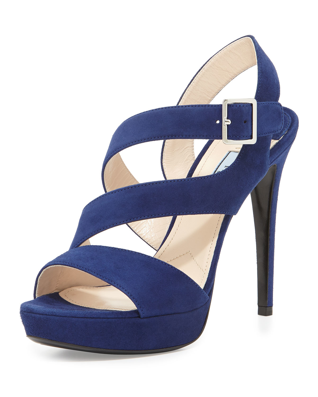 Prada Suede Triple-strap Platform Sandal in Blue - Lyst