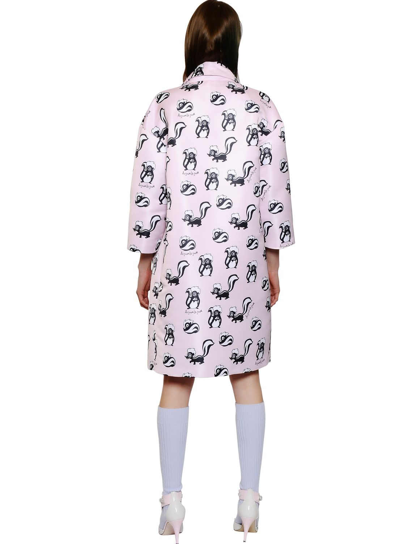 au jour le jour skunk printed duchesse coat in pink lyst