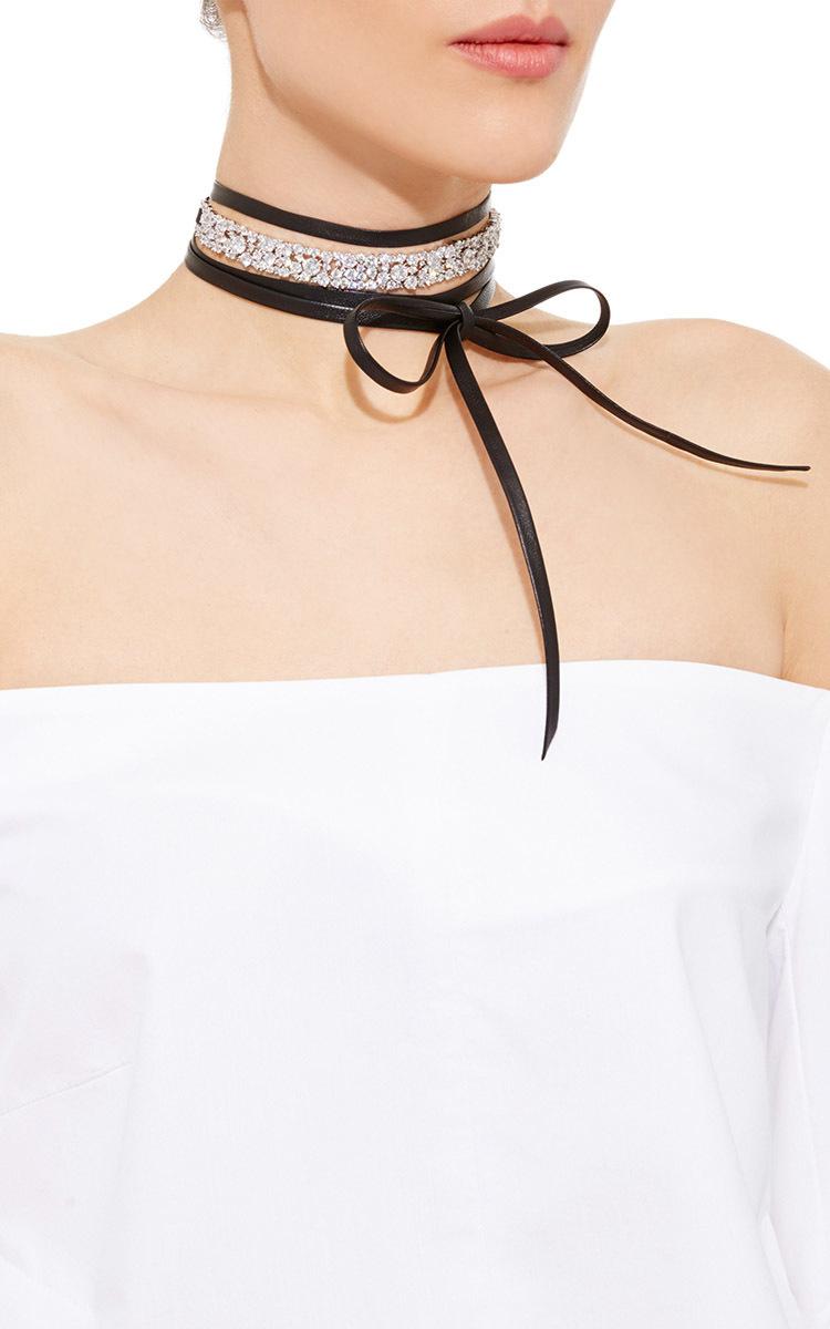 Fallon Monarch Leather & Crystal Choker Necklace NUF56k