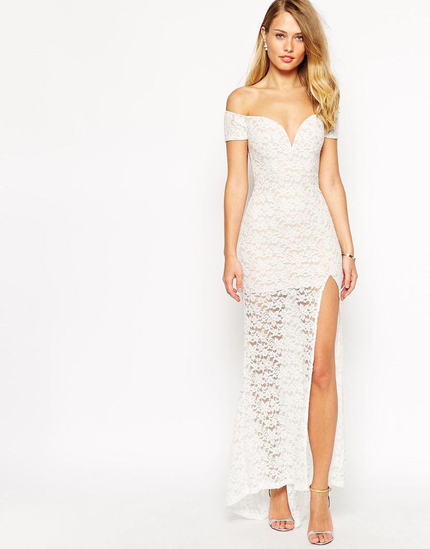 16a4efdb69ae Lyst - Ginger Fizz Lace Off Shoulder Maxi Dress in White
