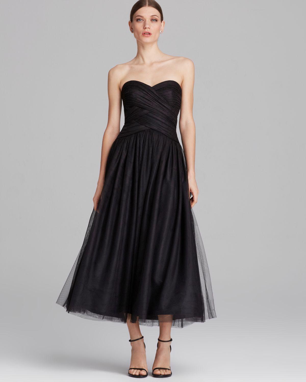 Tea Length Strapless Dress