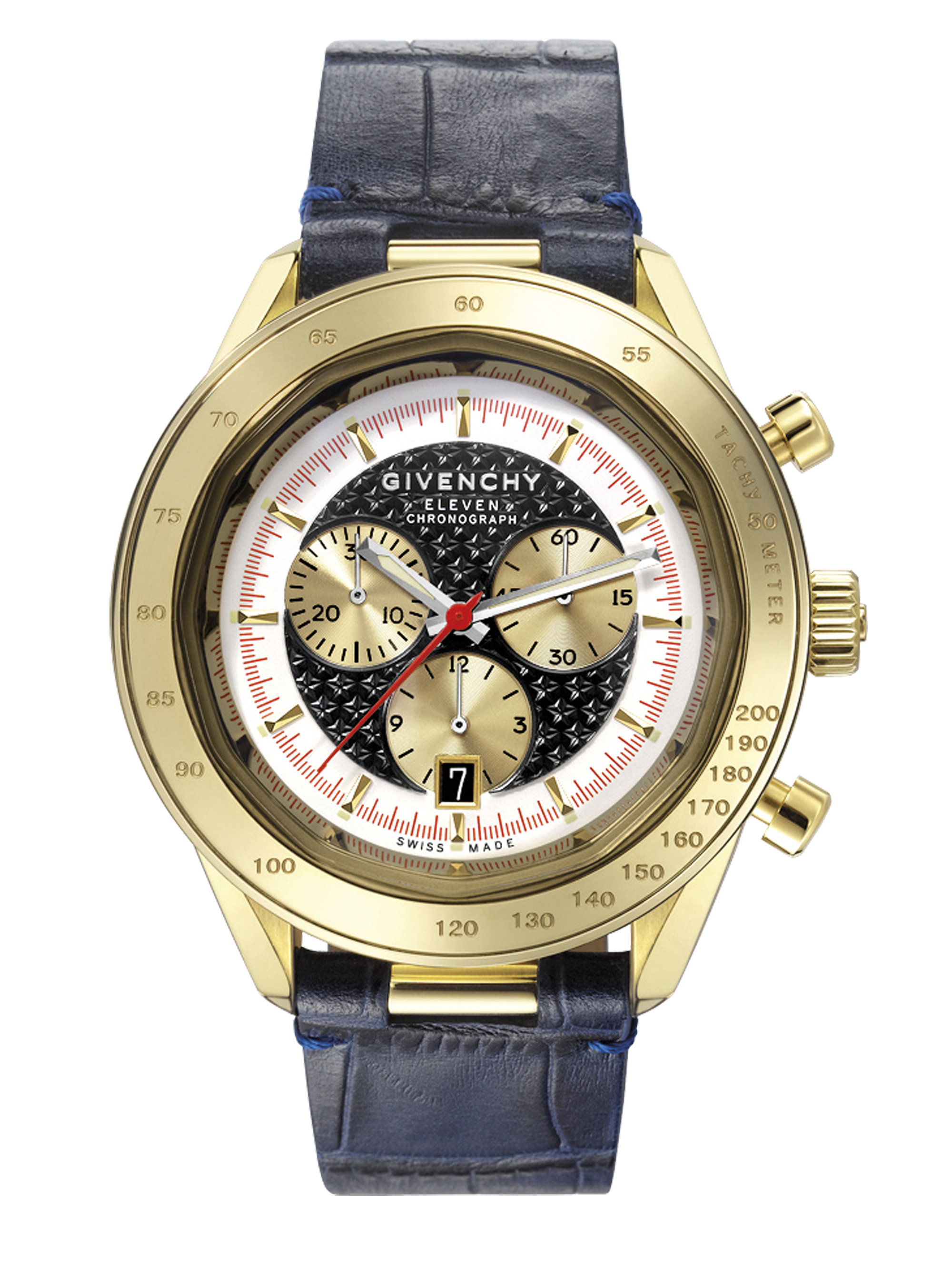 Givenchy five pale gold plated stainless steel chronograph watch in blue lyst for Givenchy watches