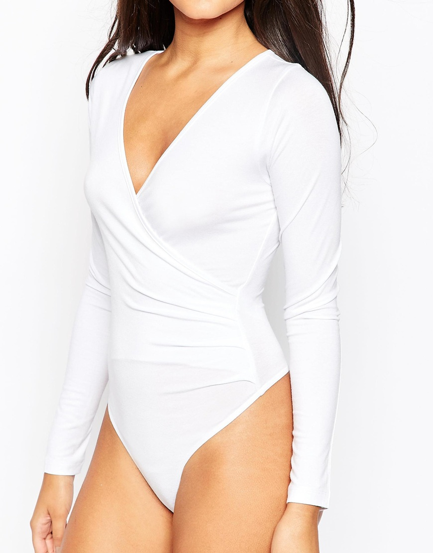 b60d15bcfa Lyst - ASOS Wrap Front Body With Long Sleeves - White in White