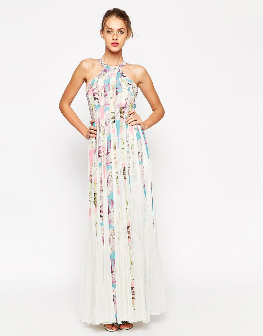 3a0775b140b ASOS Mesh Fit And Flare Maxi Dress In Floral Print in White - Lyst