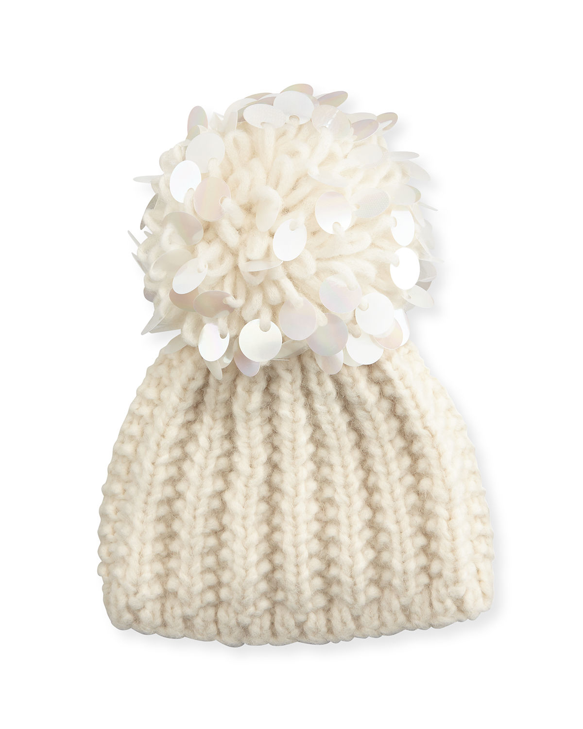 Lyst - Grevi Knit Sequin-trim Beanie in Natural ac89ae52086