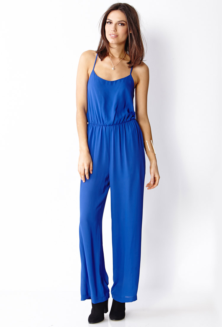 27ef4236de9 Lyst - Forever 21 Woven Long Jumpsuit in Blue
