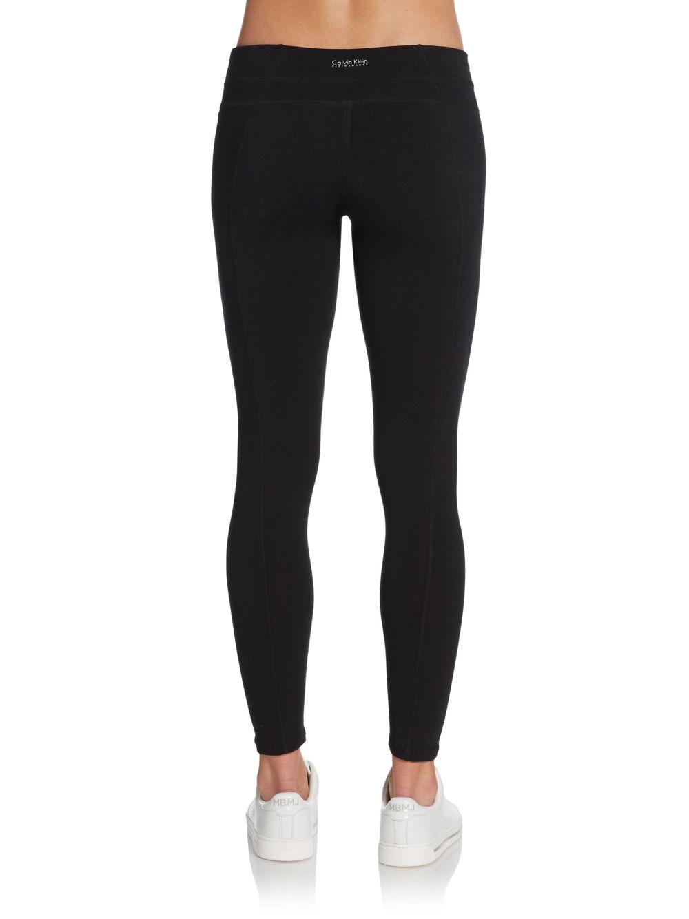 6dbb8e29df29a Lyst - Calvin Klein Seamed Leggings in Black calvin klein performance  leggings with pockets