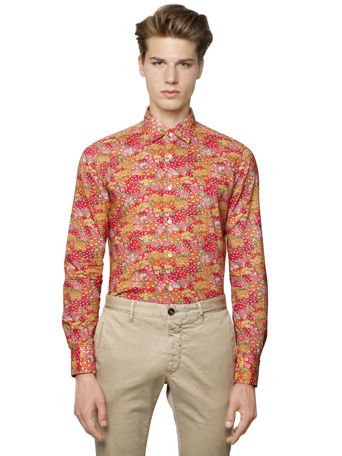 Incotex Slim Fit Glanshirt Floral Cotton Shirt in Pink for Men | Lyst