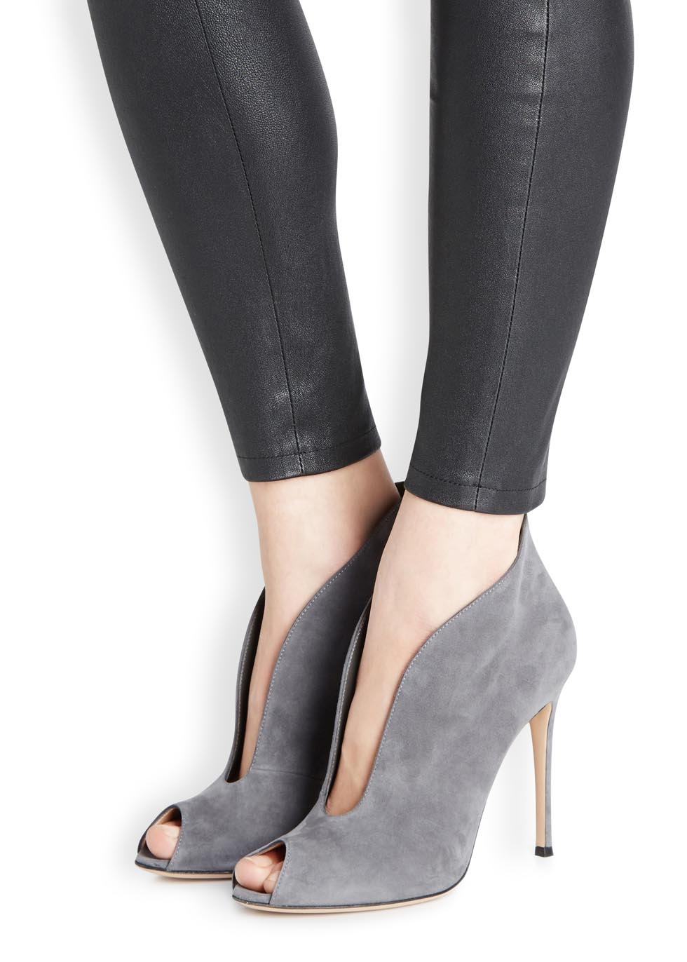 lyst gianvito rossi vamp grey suede ankle boots in gray. Black Bedroom Furniture Sets. Home Design Ideas