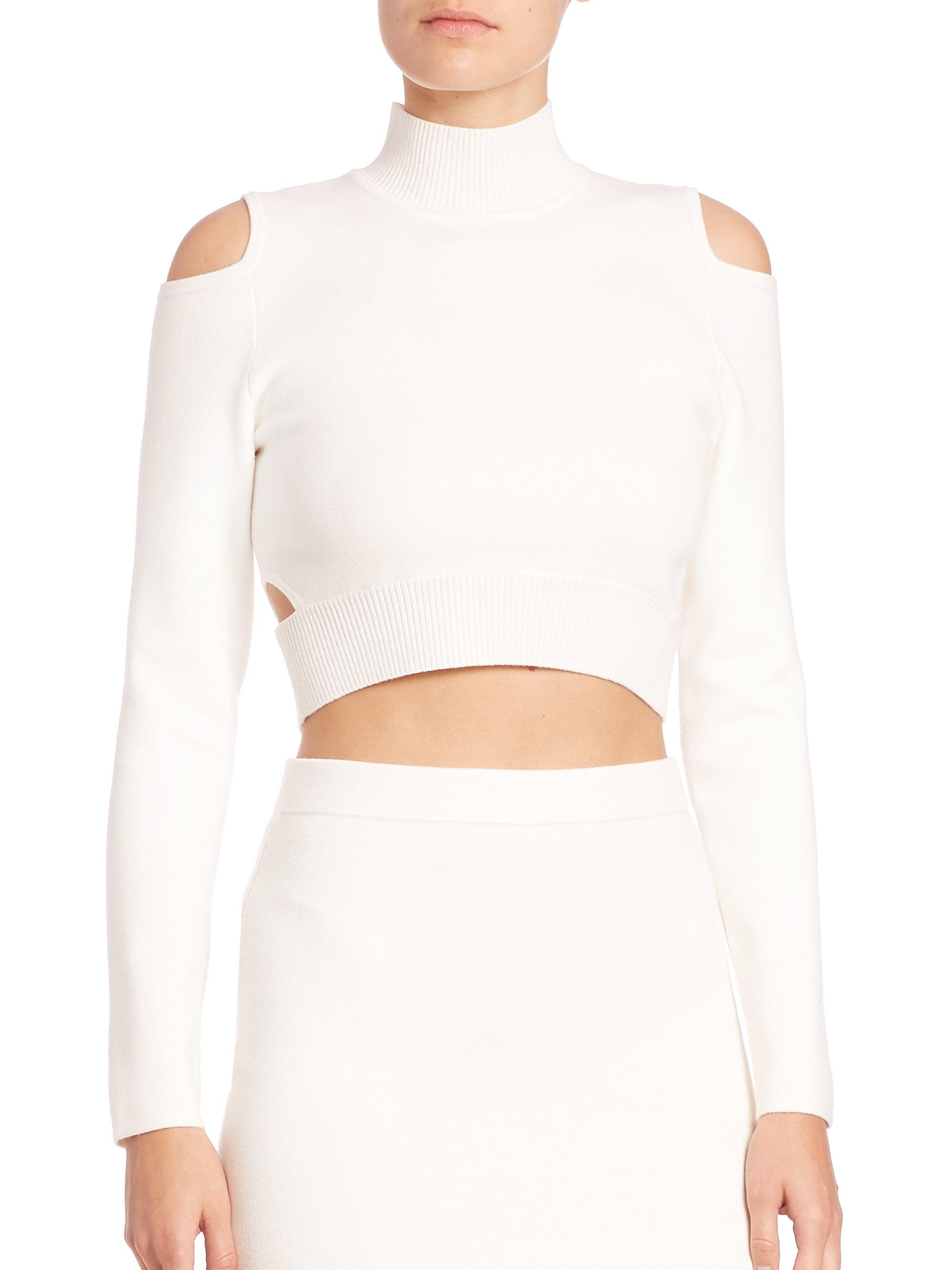 Jonathan simkhai Cutout Cropped Turtleneck Sweater in White | Lyst