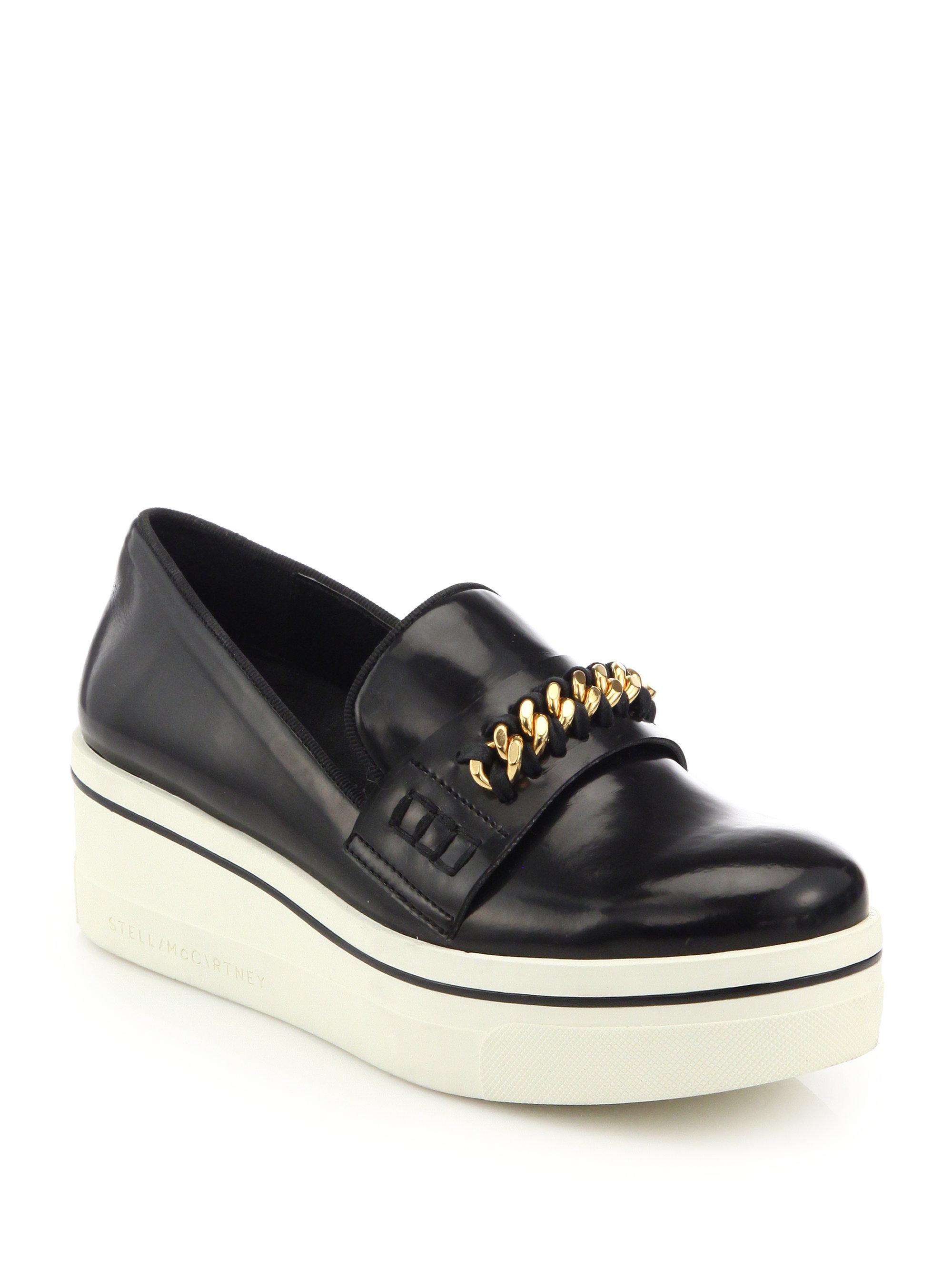 0bc1de7924b7 Lyst - Stella McCartney Chain-trimmed Rubber-platform Loafers in Black