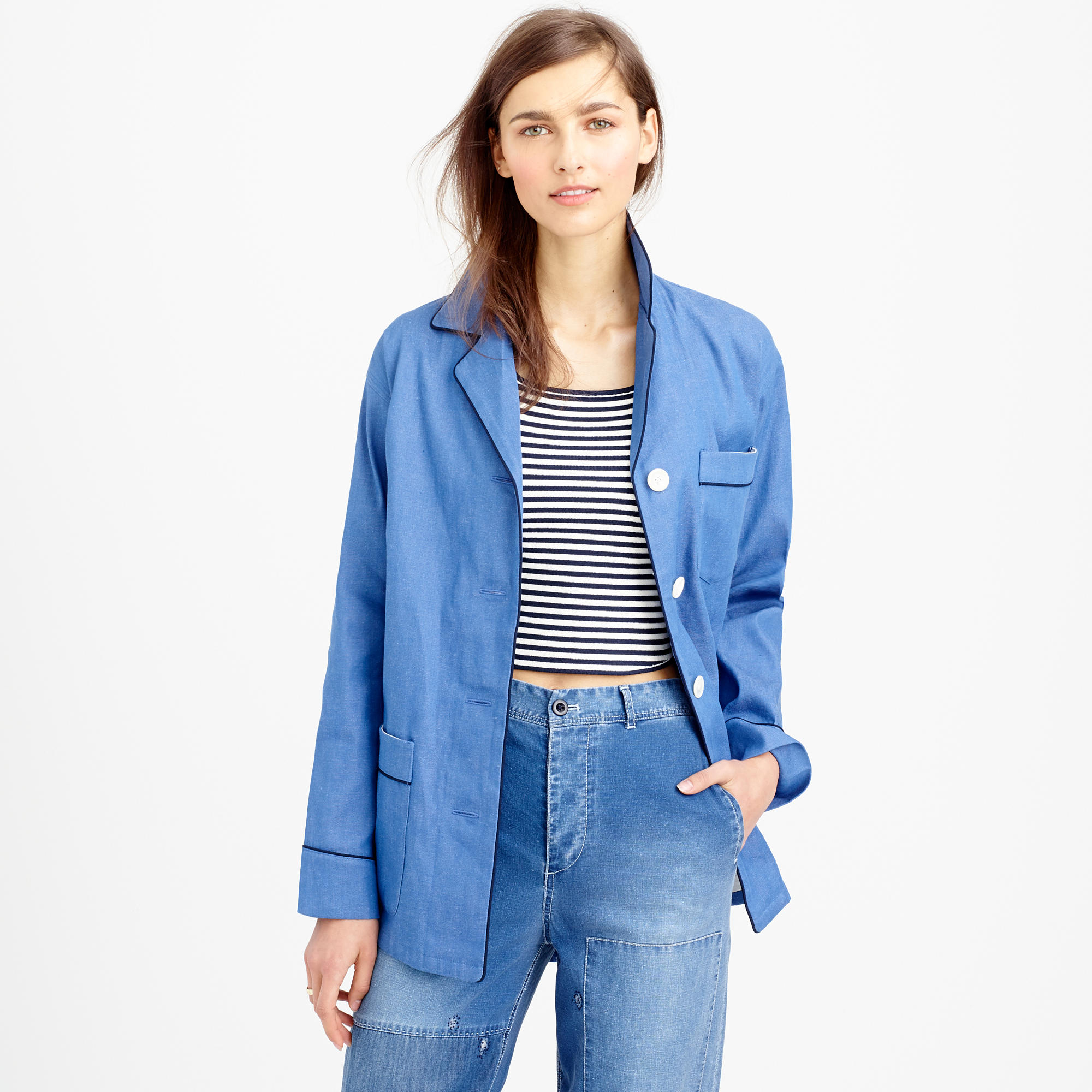 Jcrew Collection Denim Pajama Shirt-Jacket In Blue - Lyst-6027