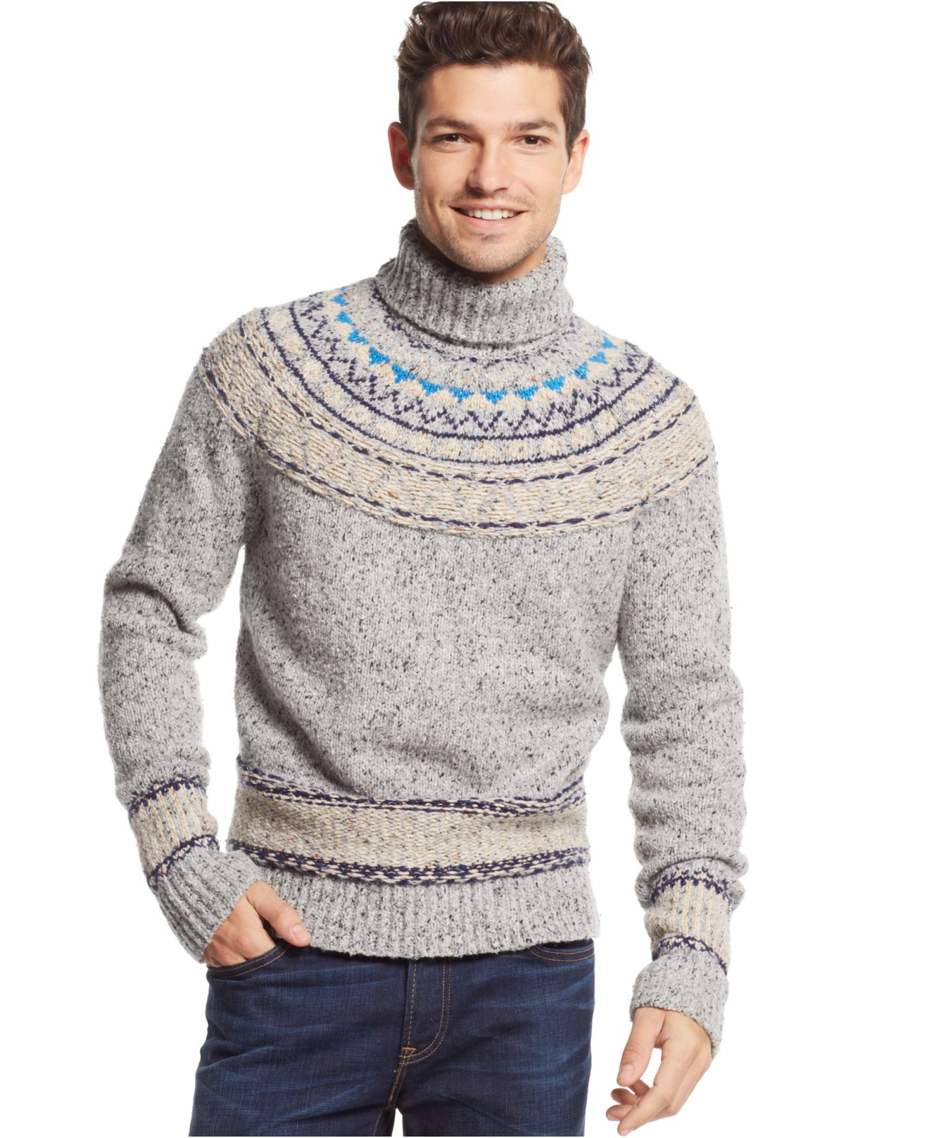 Tommy hilfiger New Pelham Fair Isle Turtleneck Sweater in Gray for ...