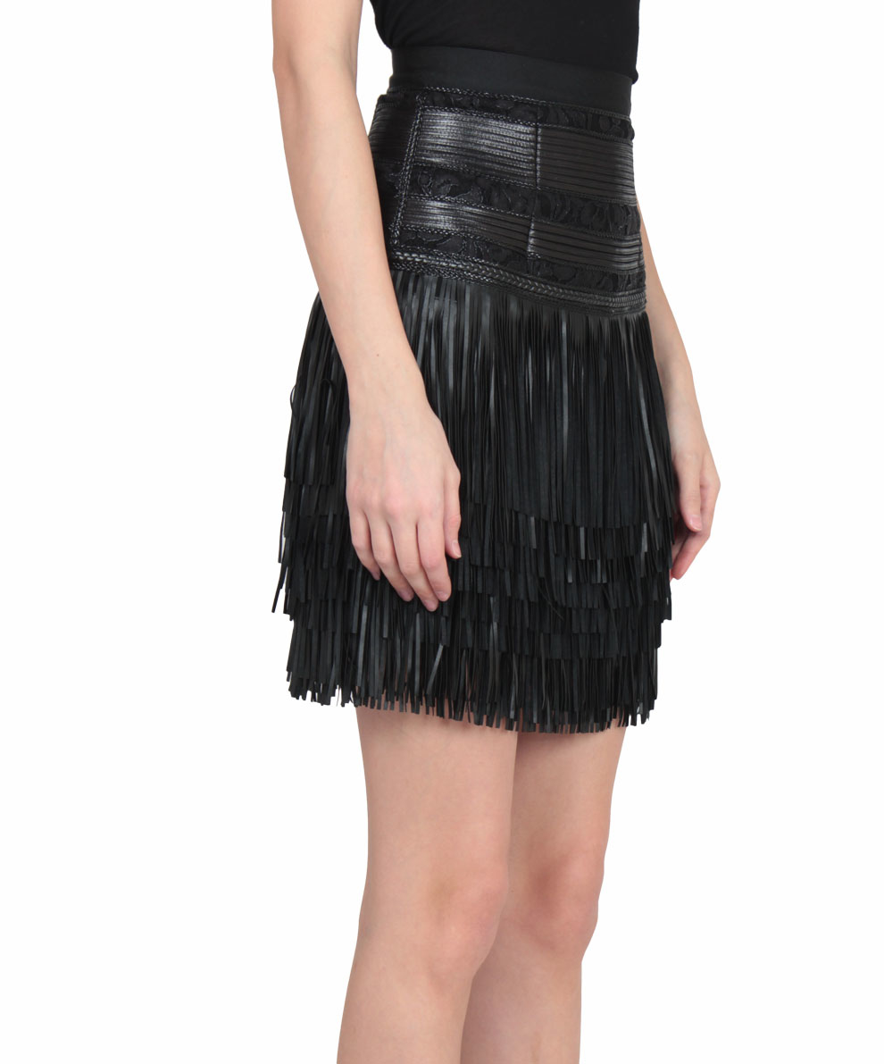 Amen Fringed Faux Leather Skirt in Black