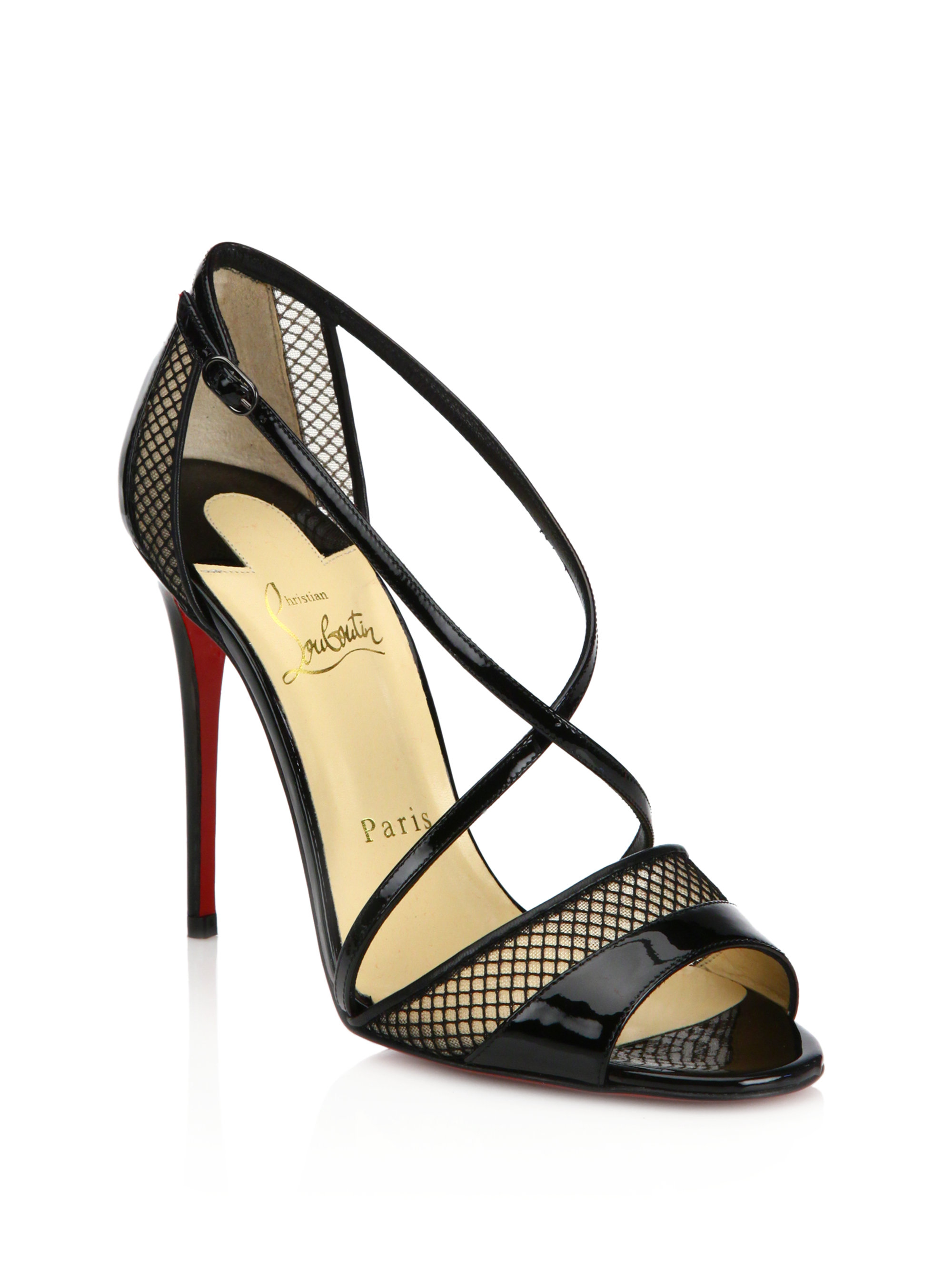 christian louboutin black patent leather sandals