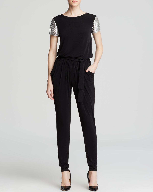 lyst michael michael kors metallic sleeve jumpsuit in black. Black Bedroom Furniture Sets. Home Design Ideas