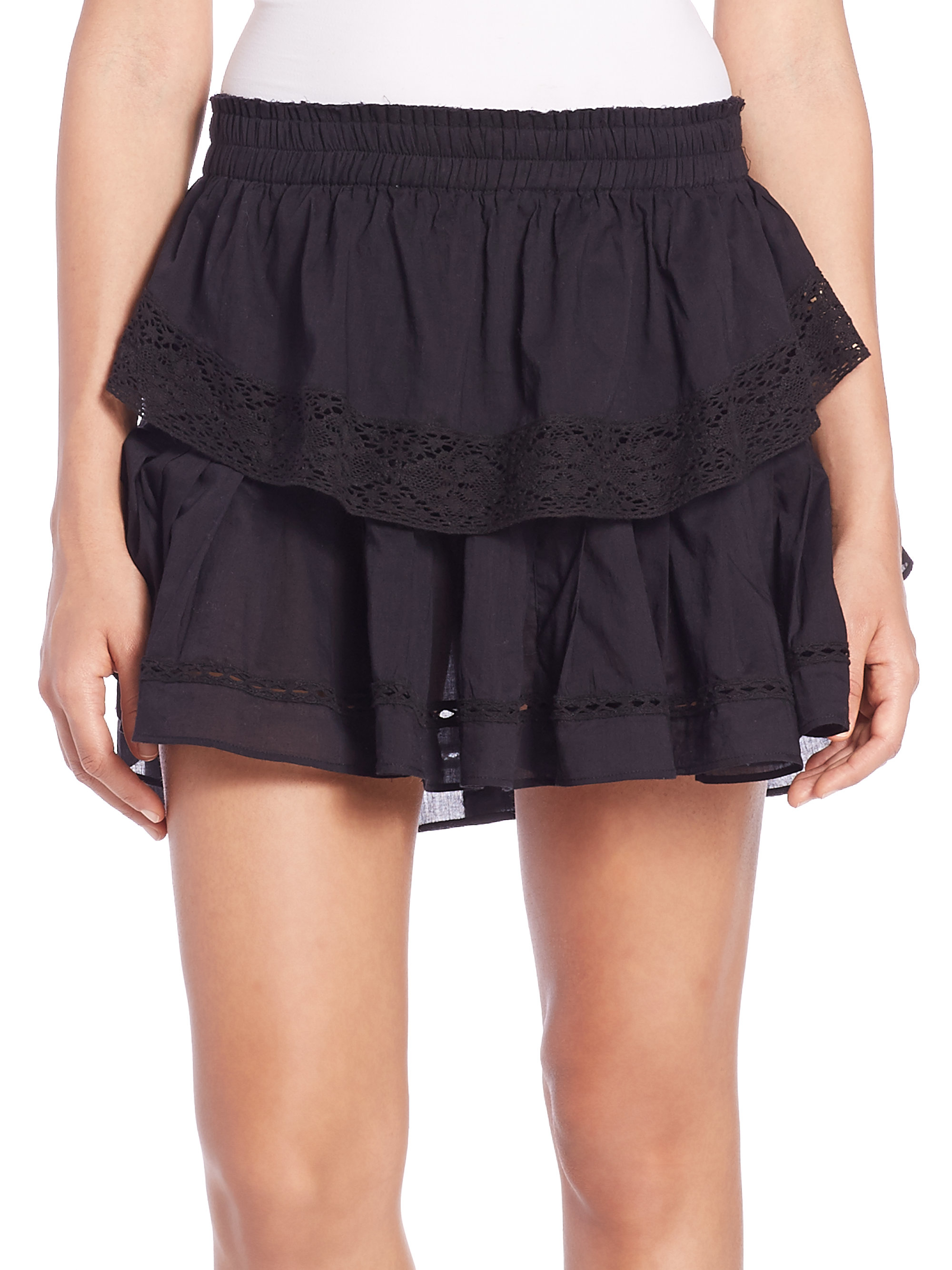Loveshackfancy Cotton Ruffle Skirt in Black | Lyst