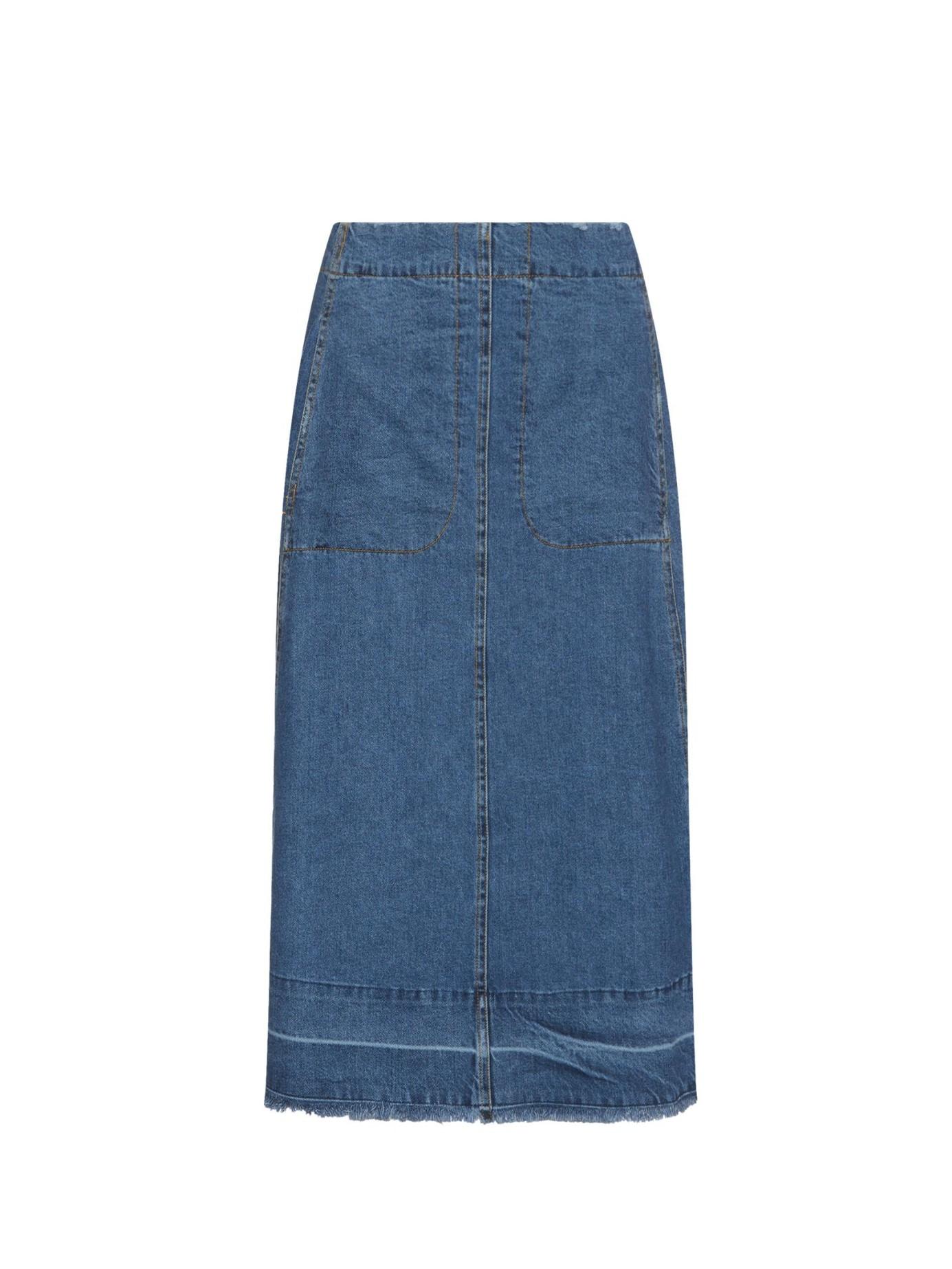 sea a line denim midi skirt in blue lyst