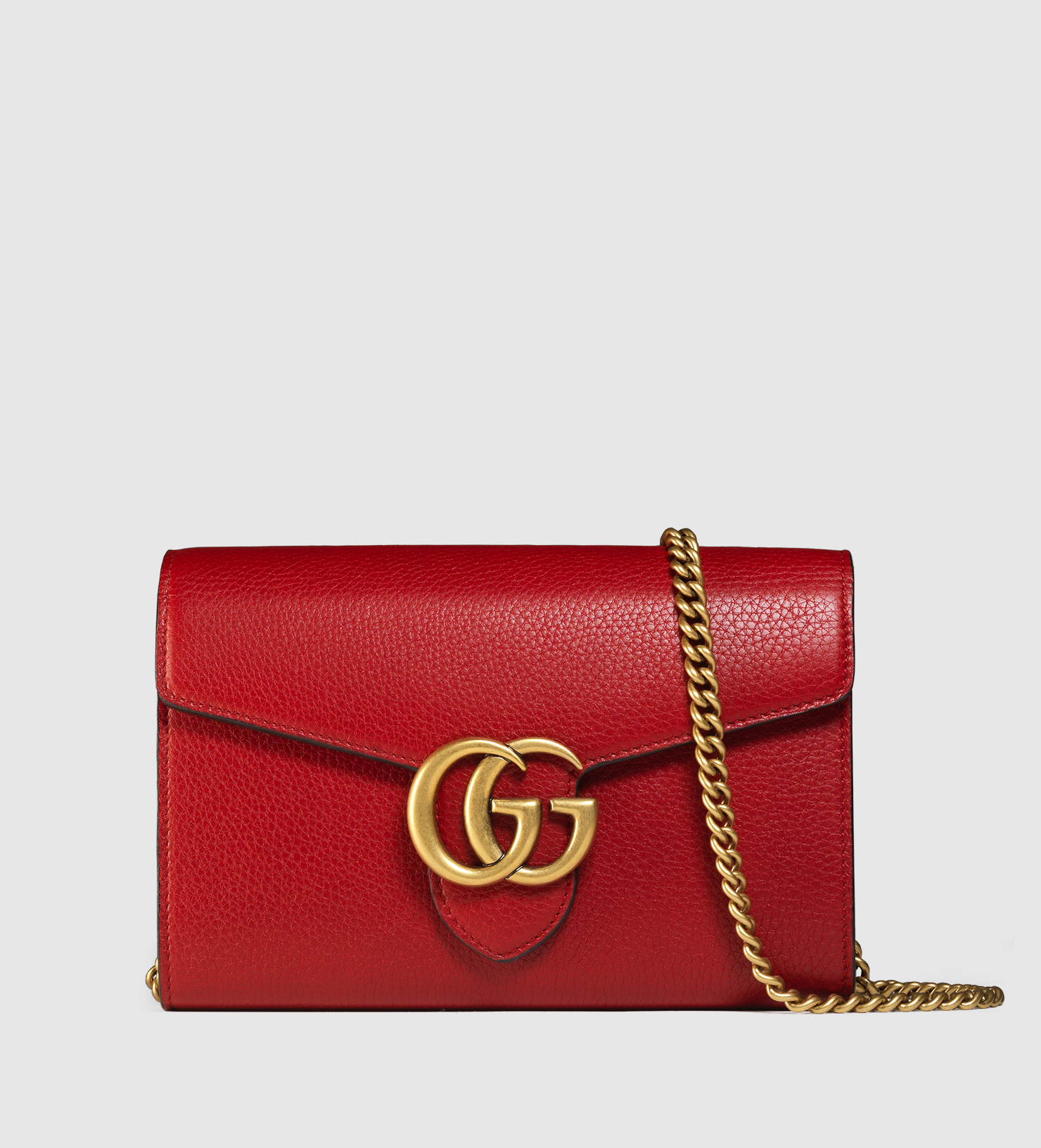 0cda081d613 Lyst - Gucci Gg Marmont Leather Chain Wallet in Red