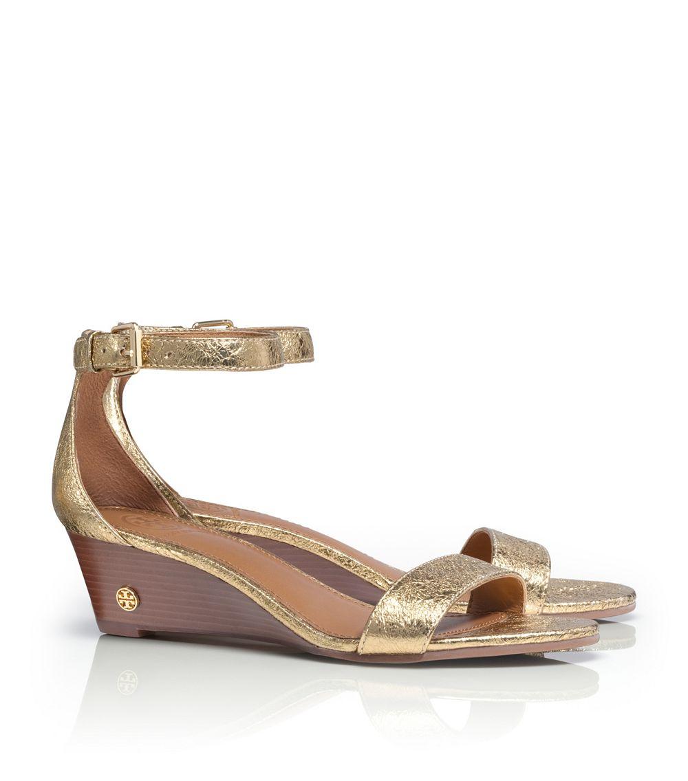 Tory Burch Savannah Metallic Wedge Sandal In Metallic Lyst