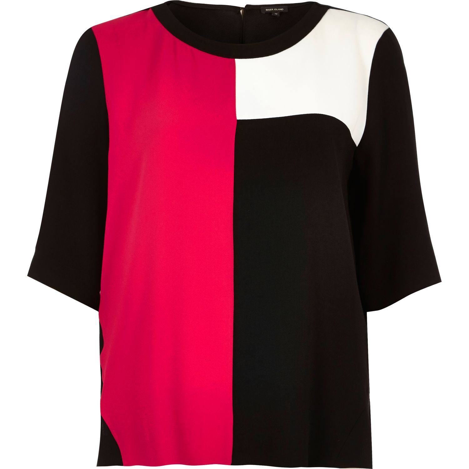 River island Dark Pink Colour Block T-shirt in Pink | Lyst
