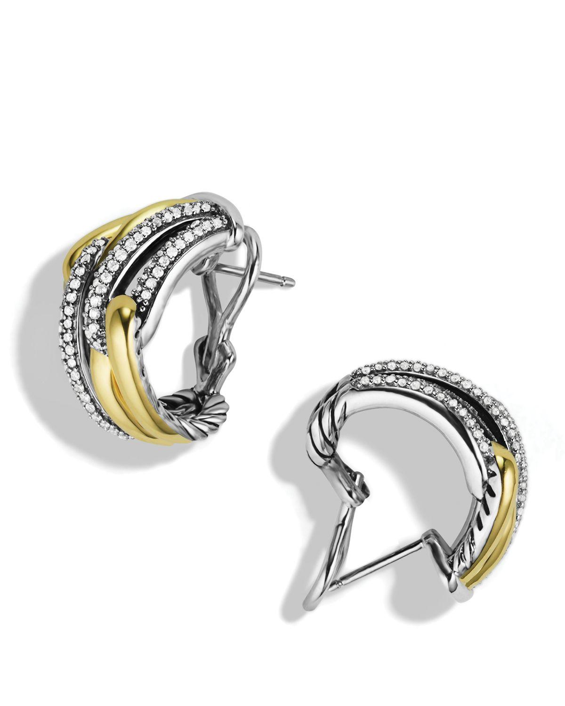David Yurman Labyrinth Double Loop Earrings With Diamonds