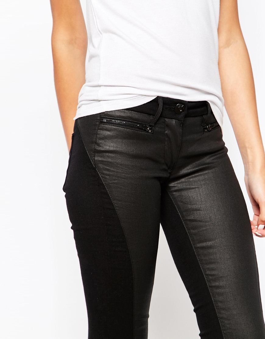 lyst 3x1 low rise coated skinny jeans in black. Black Bedroom Furniture Sets. Home Design Ideas