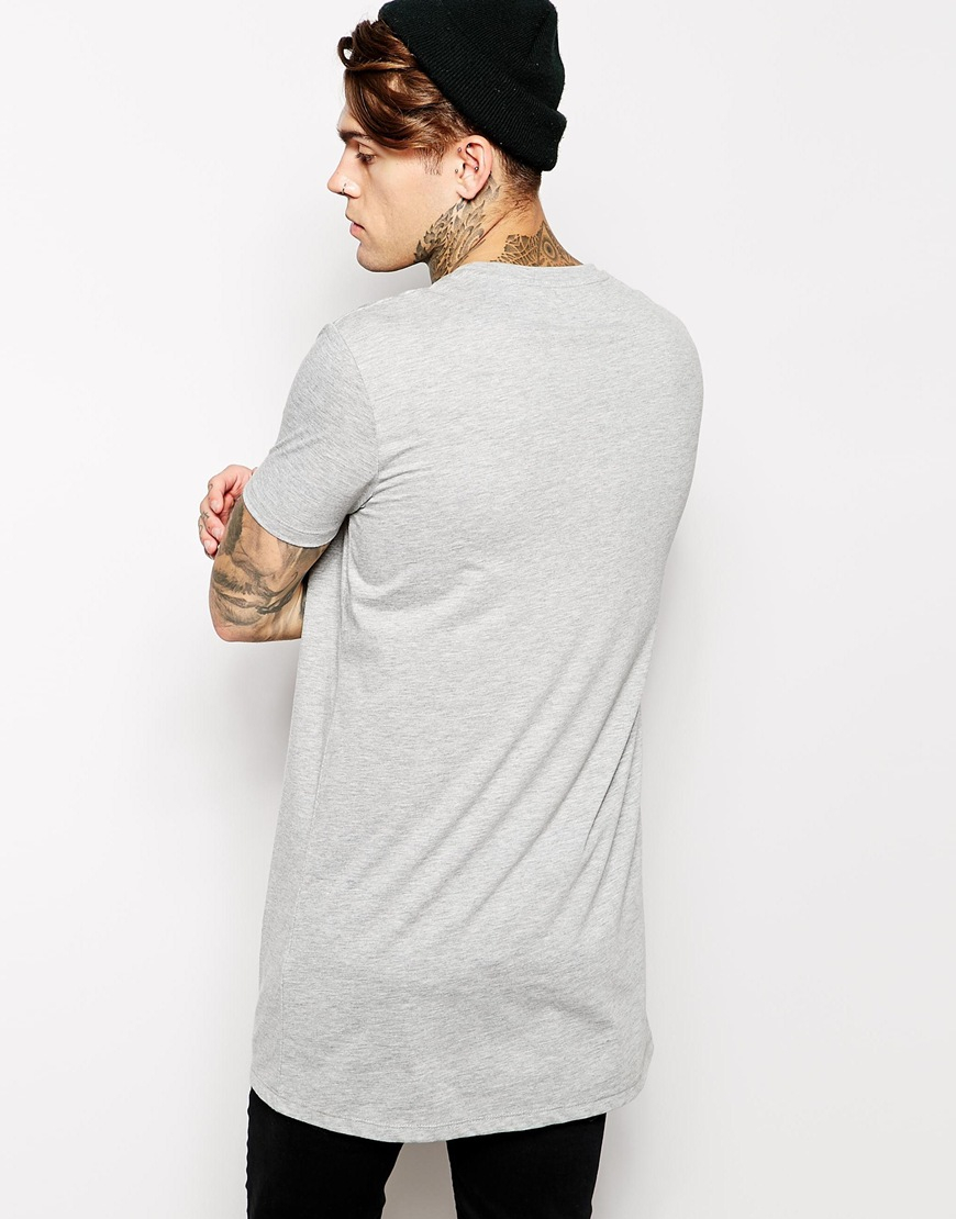 Lyst asos super longline t shirt with relaxed skater fit in gray for men for Extra long dress shirts