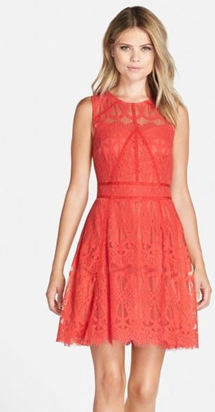 Adelyn Rae Sleeveless Lace Fit Amp Flare Dress In Red