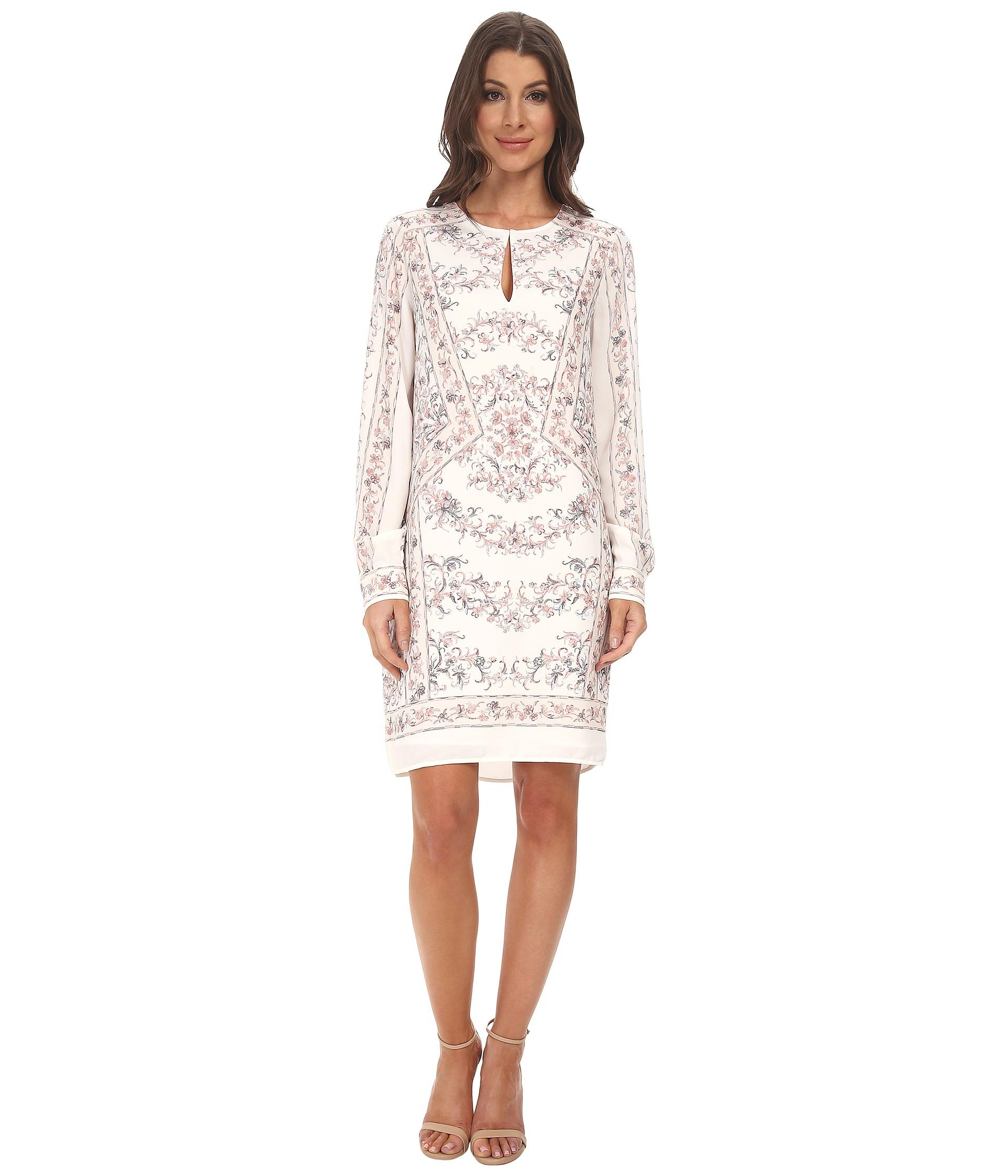 4c8cfaa895a1 Lyst - BCBGMAXAZRIA Freya Long Sleeve Scarf Print Tunic Dress