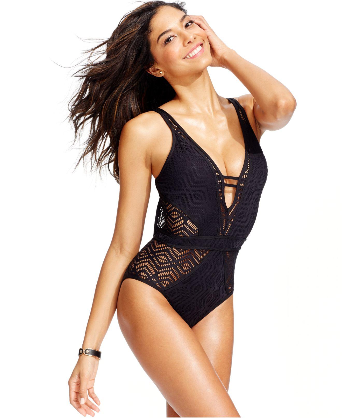 2bb54461d6 Lyst - Becca Crochet One-Piece Swimsuit in Black