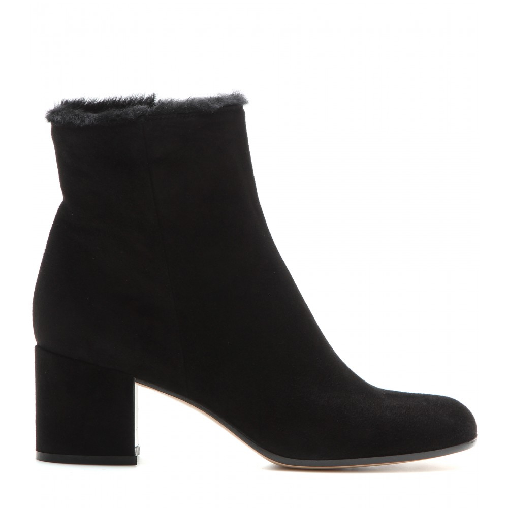gianvito fur lined suede ankle boots in black lyst