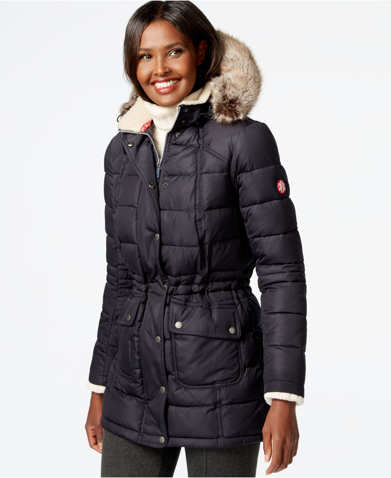 Barbour Landry Faux Fur Collar Quilted Puffer Coat In Blue